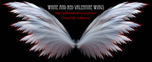 White and Red Fractal Valentine Wings by mkbrouse