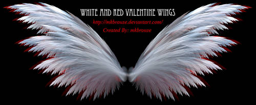 White and Red Fractal Valentine Wings