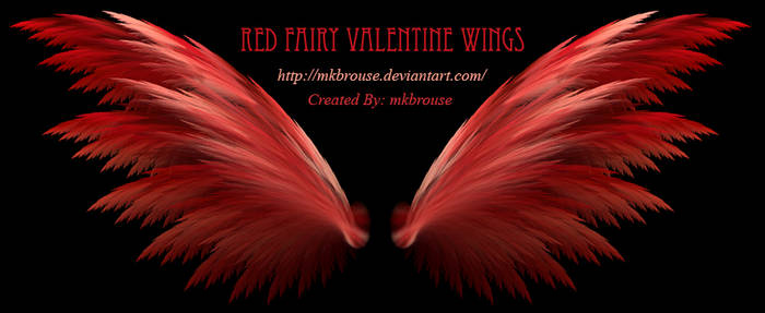 Red Fairy Valentine Fractal Wings