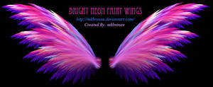 Bright Neon Fairy Wings - Fractal