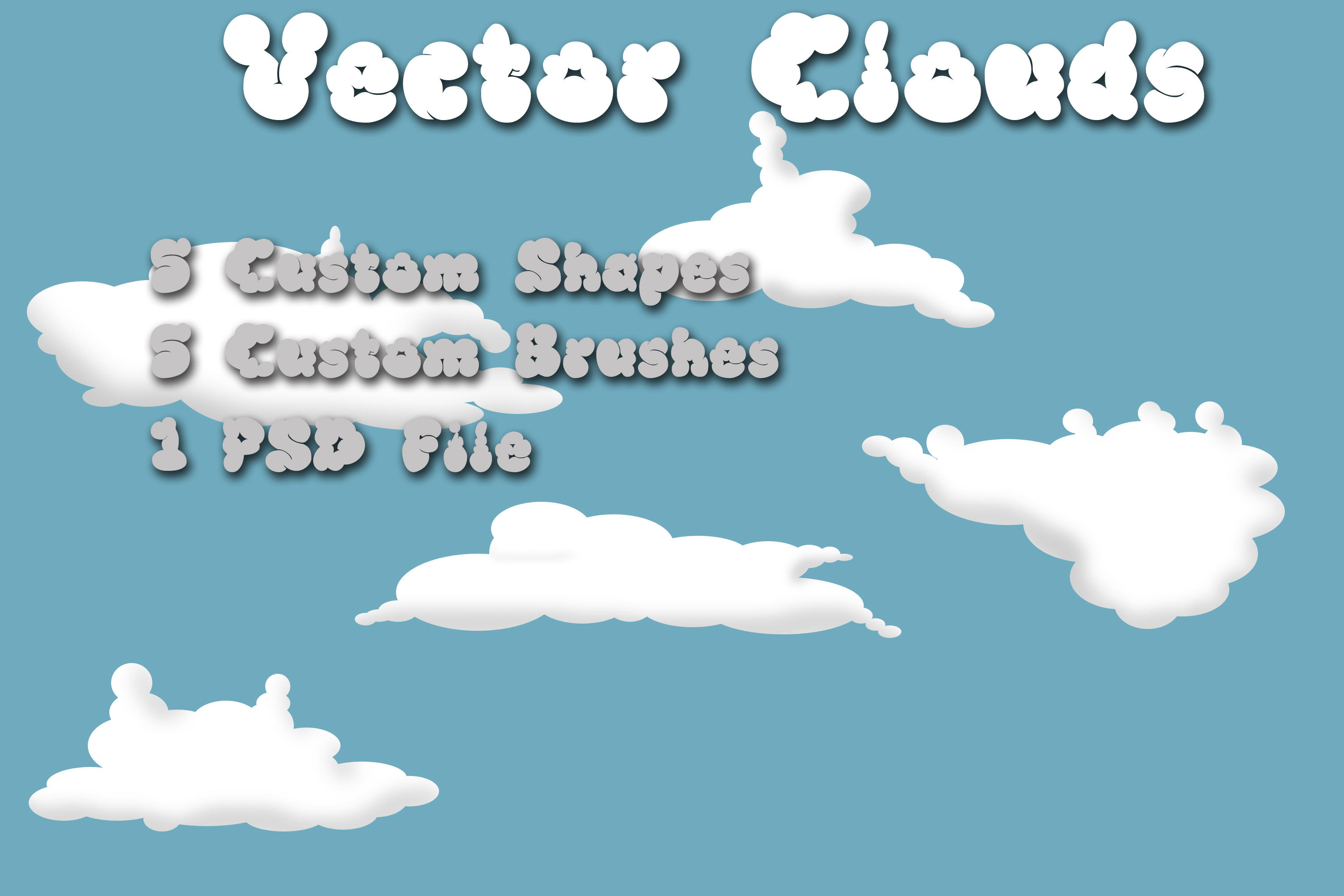Clouds brushes and shapes by rev-jesse-c-stock
