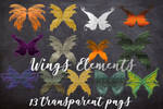FANTASY TRANSPARENT WINGS ELEMENTS PACK PNGS by DigitalFantasiesArt