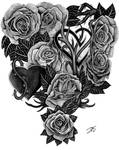 Roses and Hearts tattoo design