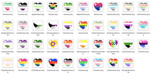 Sparkling Pride Hearts (for discord, collages etc)