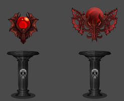 A Duo of Doom Amulets On Pedestals