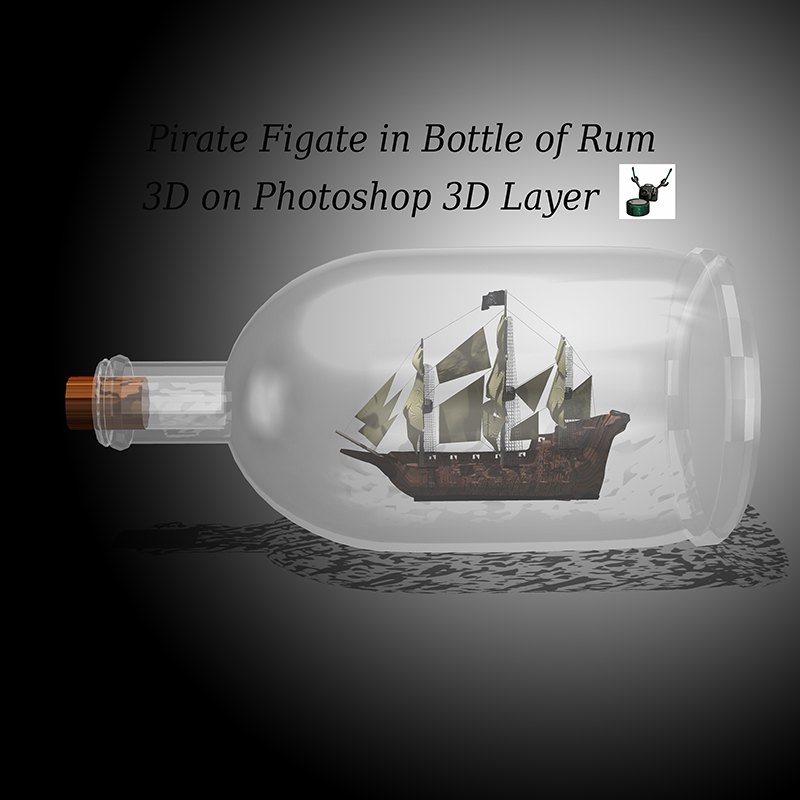 Pirate Frigate in Bottle of Rum by ArthurRamsey