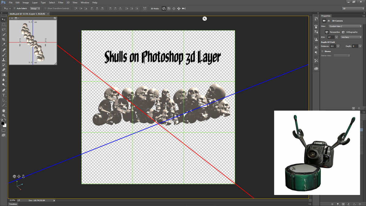 Stack of Skulls on Photoshop 3d Layer by ArthurRamsey