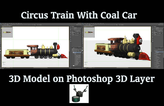 3D Circus Steam Locomotive with Coal Car
