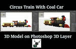 3D Circus Steam Locomotive with Coal Car