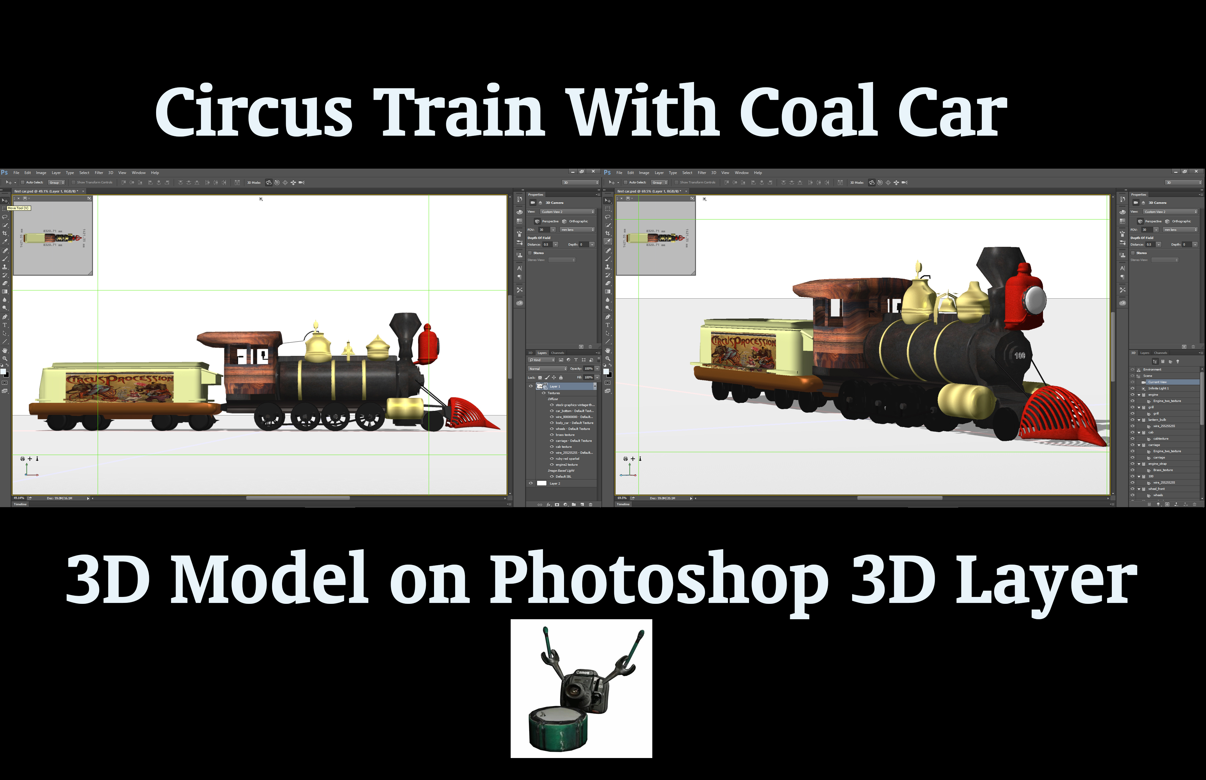 3D Circus Steam Locomotive with Coal Car by ArthurRamsey