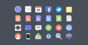 24 Flat Icons (PSD)
