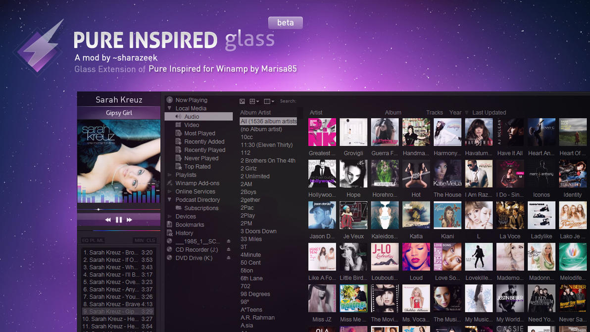Pure Inspired Glass for Winamp by sharazeek