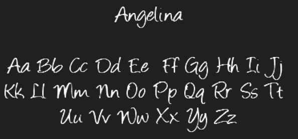 Angelina - Novelty Fonts by Vixeria