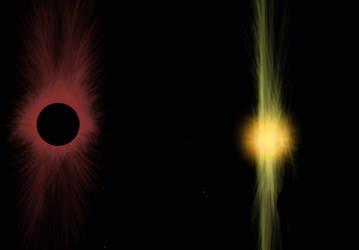 Red black hole vs Yellow Neutron star by Lestaril