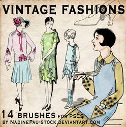 vintage fashions - 14 bruses by NadinePau-stock