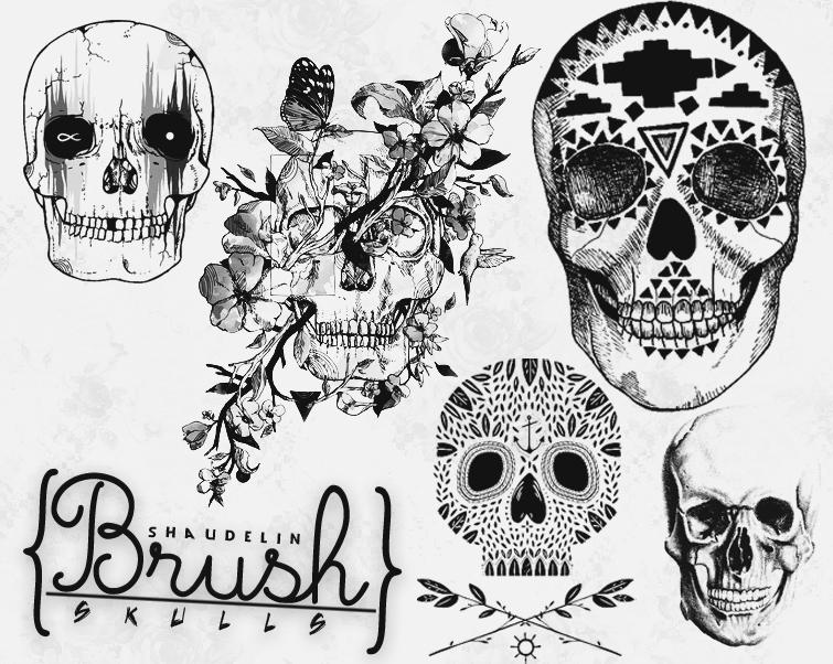 Skulls - Brush by Ihavethedreamersdise