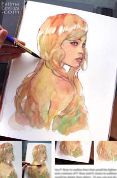 Create a Whimsical Watercolor Portrait: Female