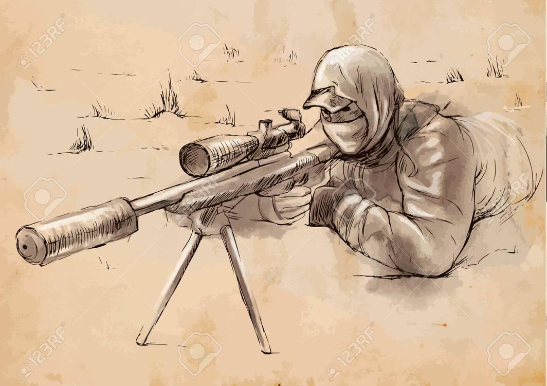 военные рисунки снайпер рубцова