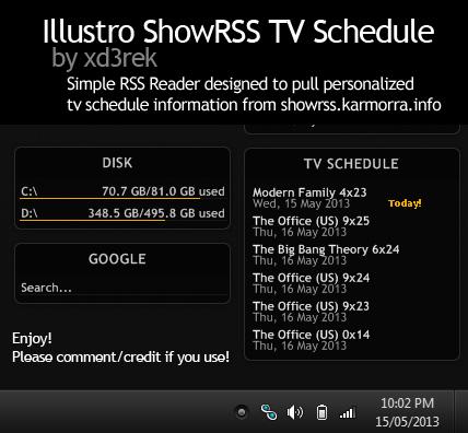Illustro ShowRSS TV Schedule Skin by xd3rek on DeviantArt