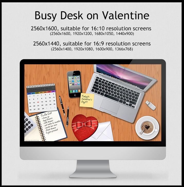 Valentine Wallpaper - Busy Desk on Valentine's Day by ThePixelMe