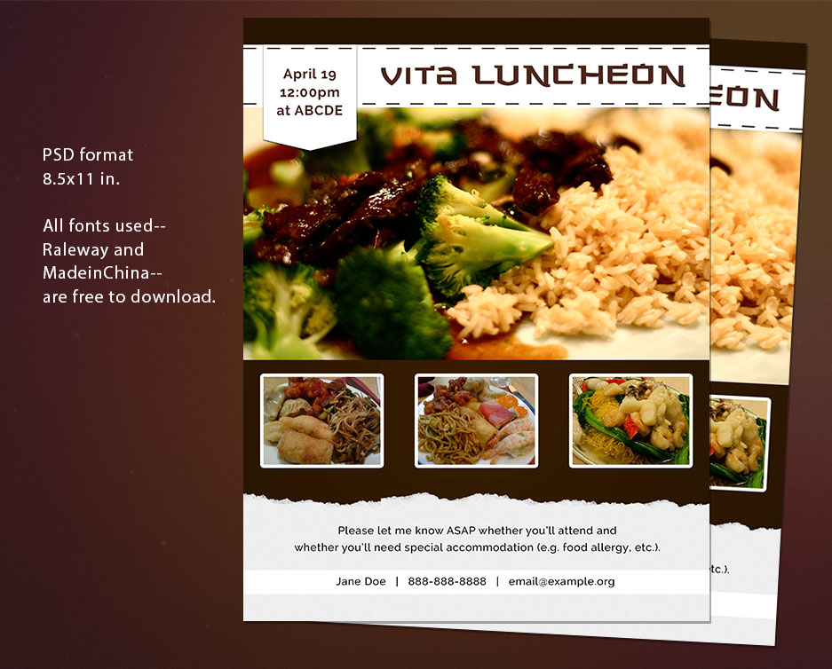 Free Flyer Psd Template  Invitation To A Luncheon By Thepixelme On