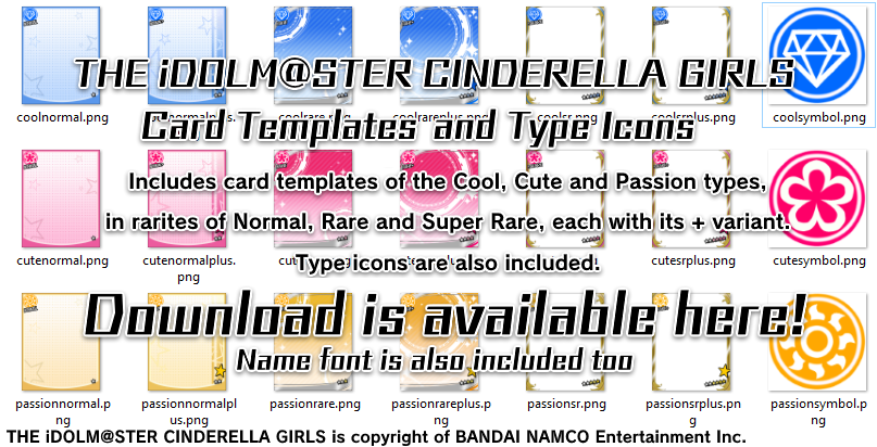 imas cinderella girls card templates and icons by mayugaph on deviantart