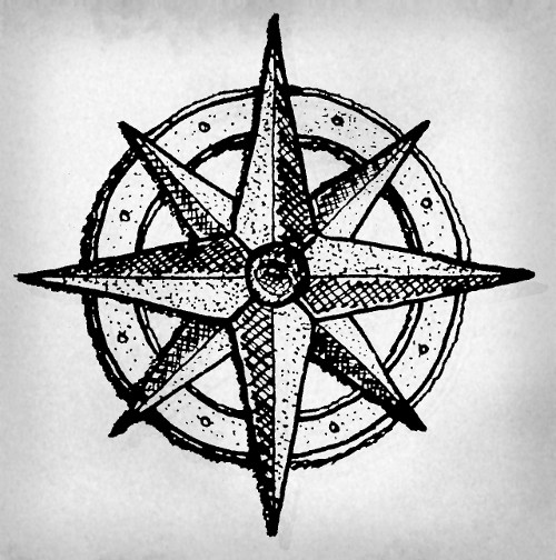 Hand-drawn authentic wind rose