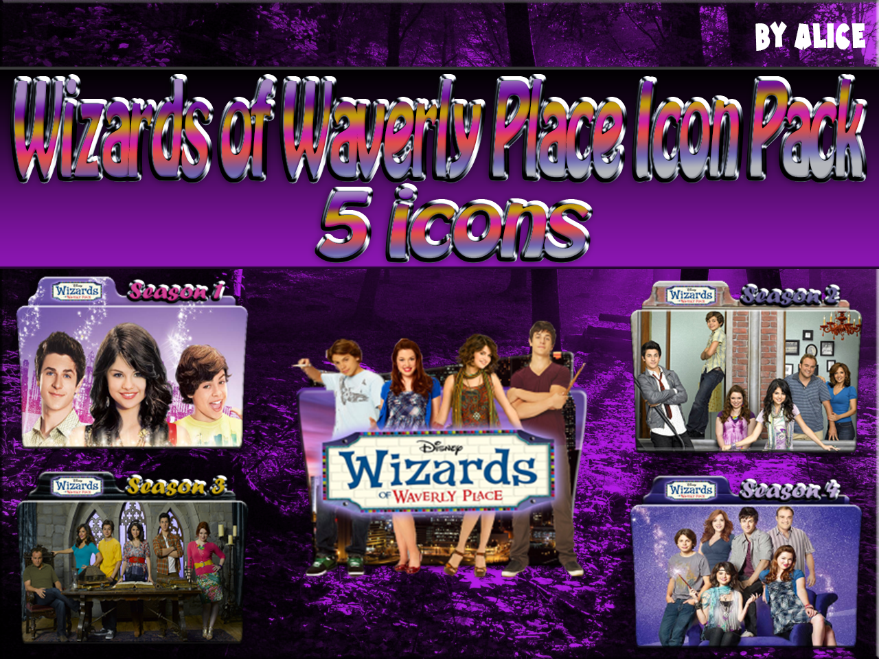 wizards of waverly place folder icon pack by alicegirl77 on deviantart