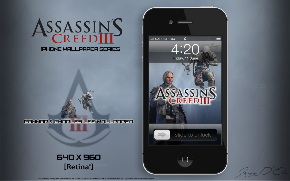 AC3 iPhone Retina Wallpaper - Connor ~ Charles Lee by tazerguy