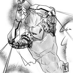 003 Commission. Genos Sketch by jTeri