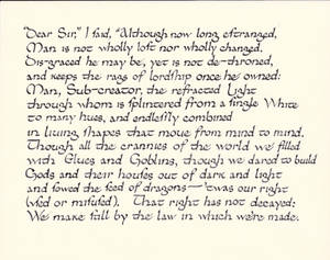 Calligraphy practice: a sonnet by J.R.R. Tolkien