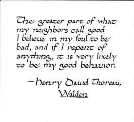 Thoreau quote: good behavior
