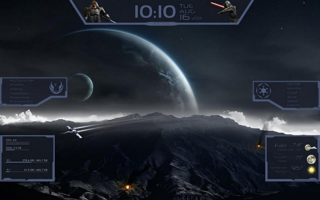 SWTOR desktop UI - Rainmeter by Malir80