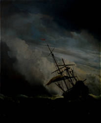 A ship in the dark storm. by Larsbehet