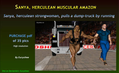 Sanya pulls a dump-truck by running