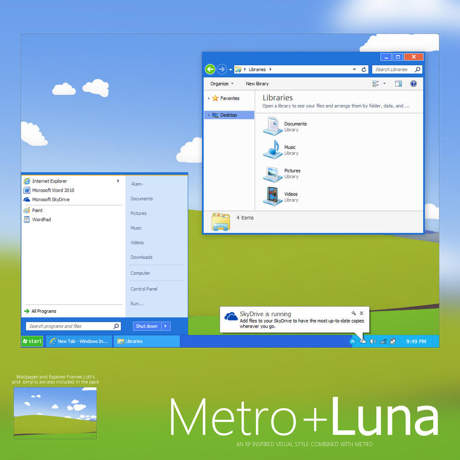 Metro+ Luna by Giro54, Metro+ Luna : An XP Inspired Visual Style combined with Metro Visual Style for Windows 7