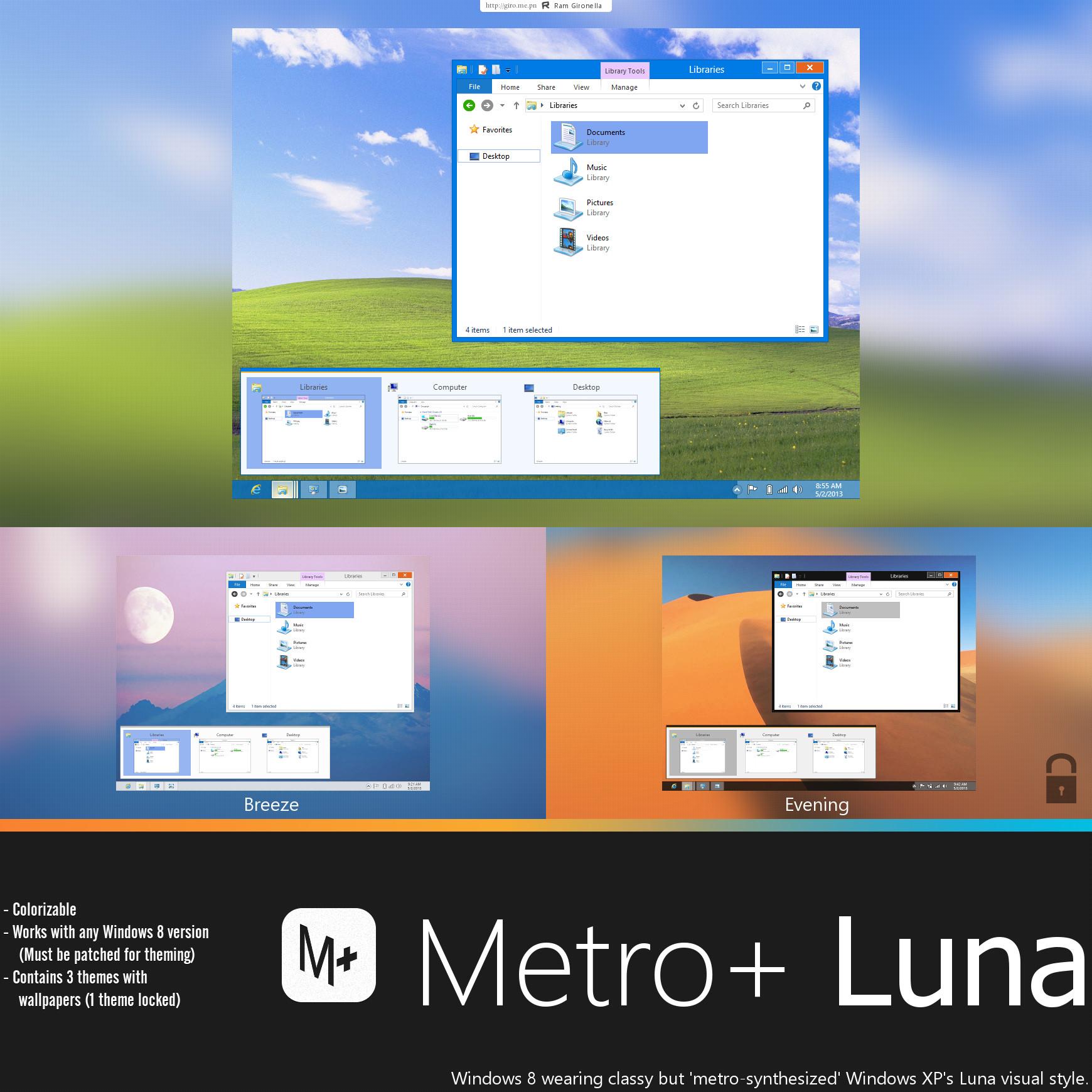 xp仿win8主题安装版_Win8主题包Metroluna-Metro版XP下载