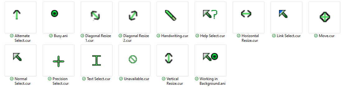 Green Pointer Cursors