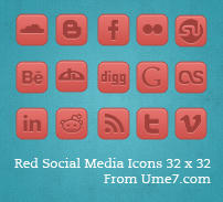 Red Social Media Set by Ume7Stock