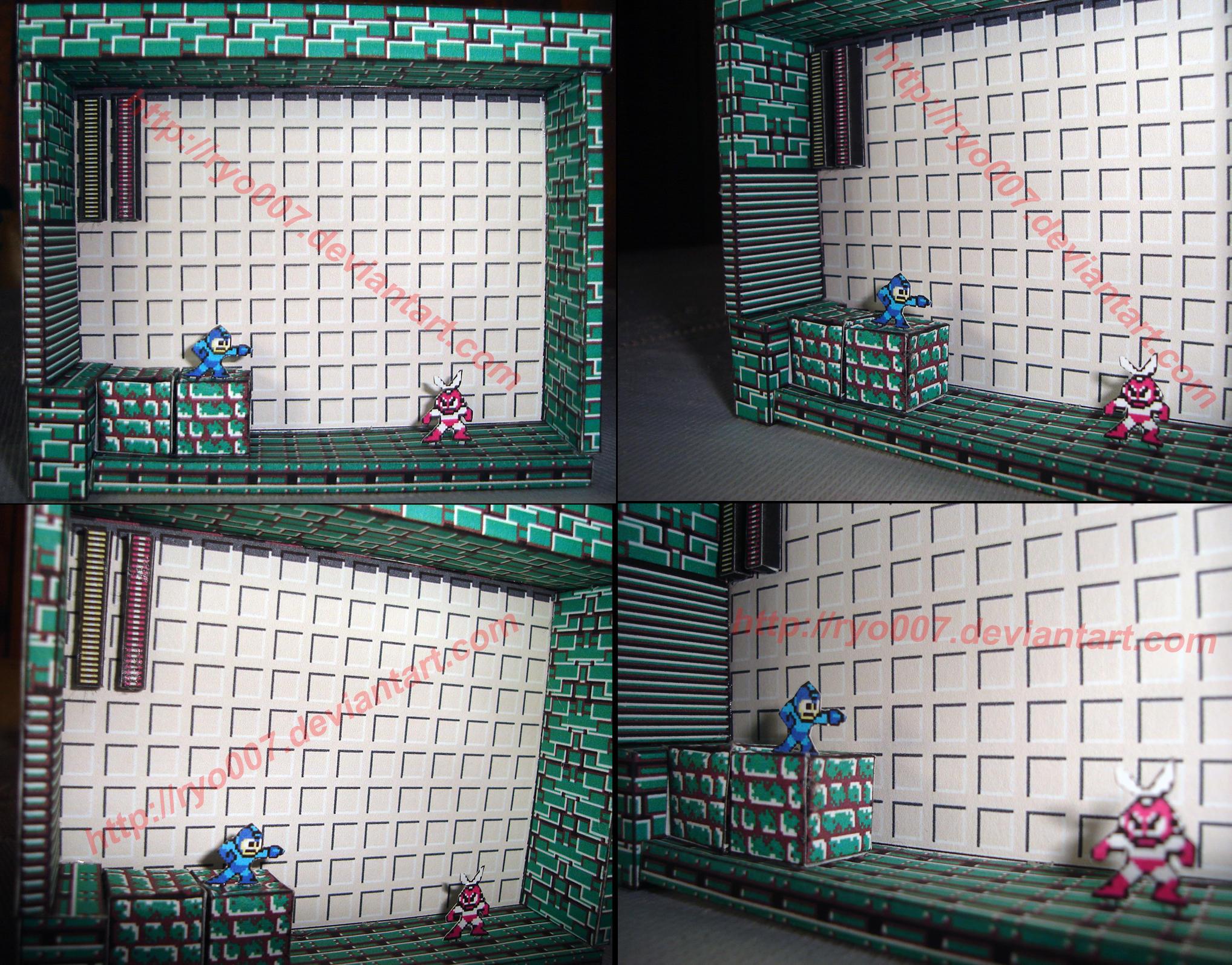 Megaman Vs Cutman Papercraft by ryo007