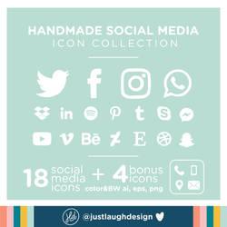 Handmade Social Media Icons - Vector