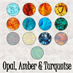 Opal, Amber, Turquoise Pats