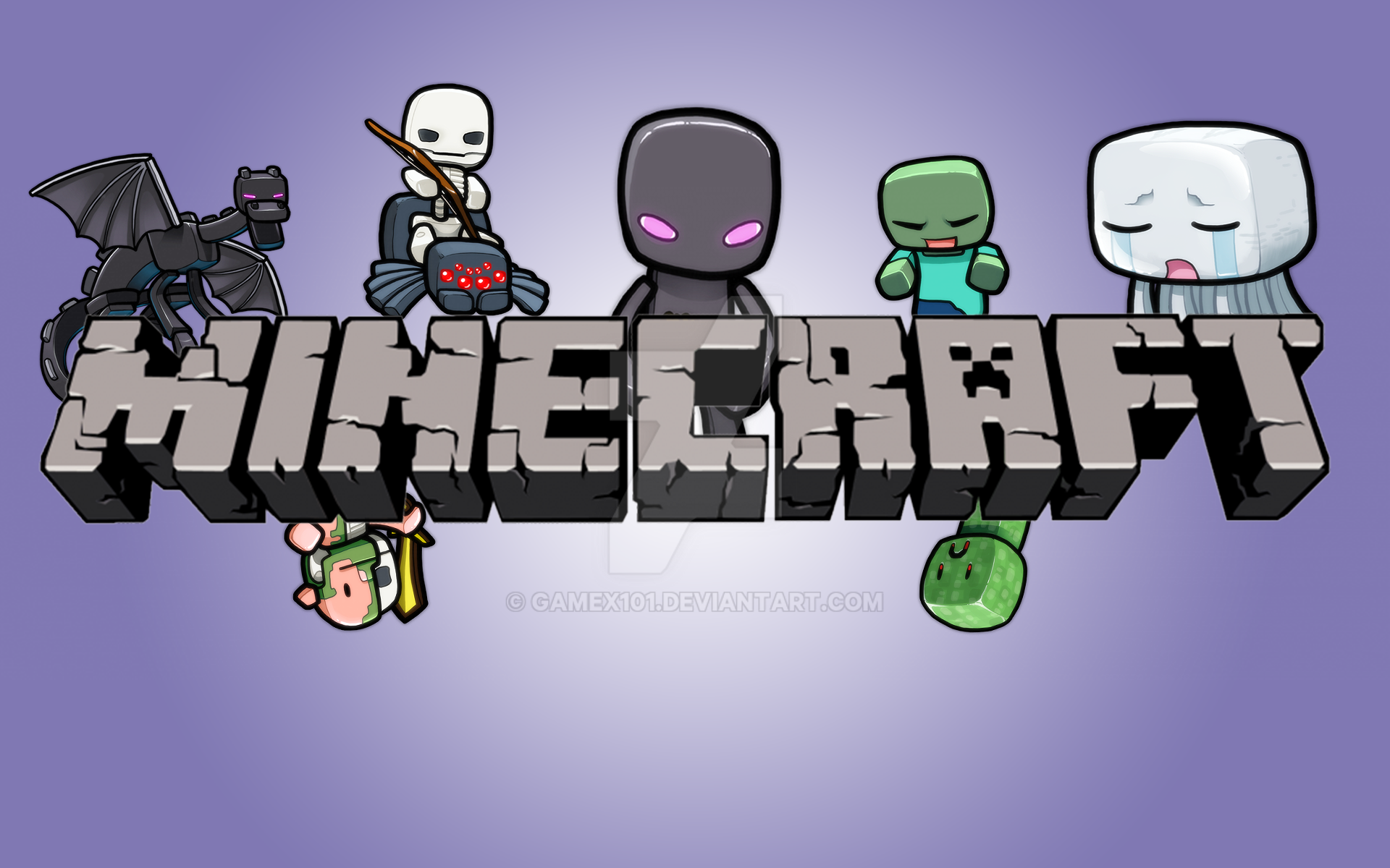 Minecraft Cartoon Wallpapers 15 Colors By Gamex101