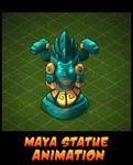 Mayan goddess statue Animation