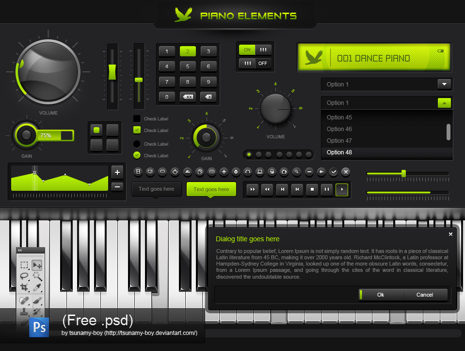 Free PSD - piano elements by devzign on DeviantArt