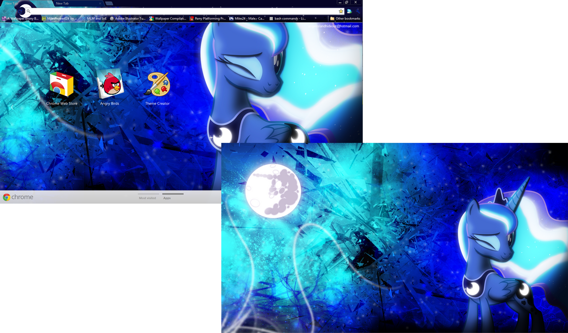FiM Luna Google Chrome Theme Plus Wallpaper By M24Designs