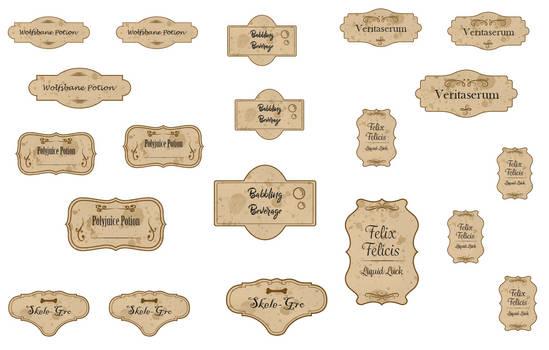 Harry Potter potion bottle labels