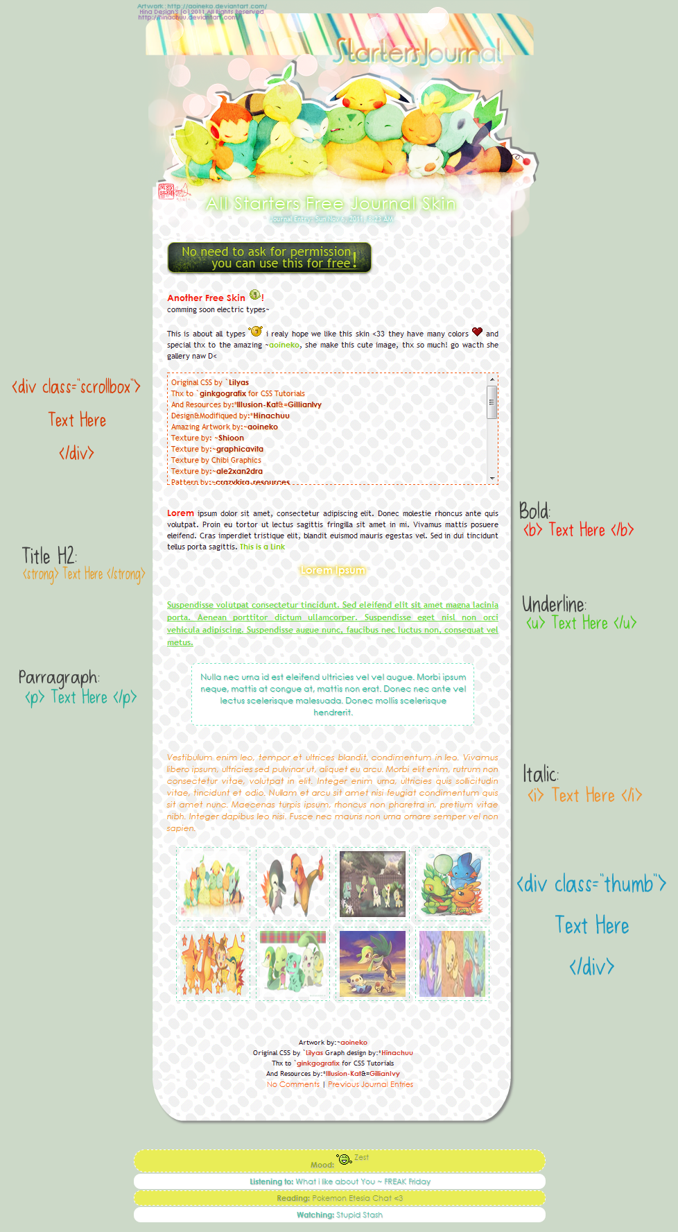 :Poke: Starters Free Journal Skin by Hinachuu