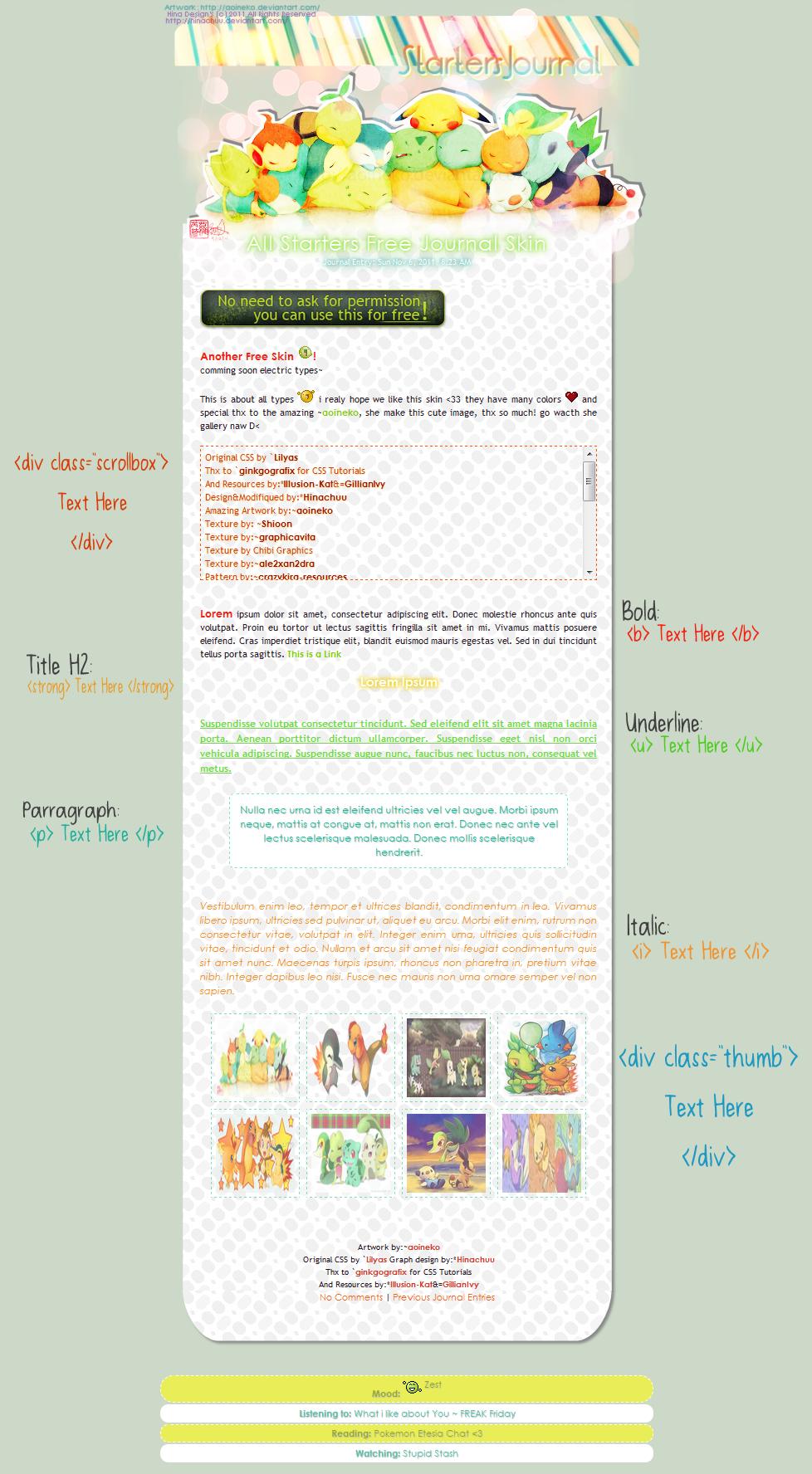 :Poke: Starters Free Journal Skin by Hinachuu