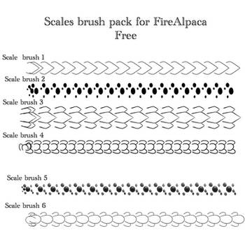 Scale Brush Pack FireAlpaca (Free) by Mo-fox